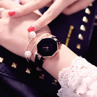 Fashion Women 's Leather Band Analog Quartz Diamond Wrist Watch Watches DZT