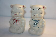"""VINTAGE SHAWNEE RARE PIG WITH BOW SALT AND PEPPER SHAKERS PAINT WORN 3.5"""" X 1.75"""