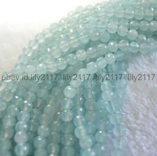 """AA Natural 8mm Faceted Aquamarine Light Blue Gems Round Loose Beads Strand 15"""""""