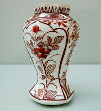 Rare Chinese Kangxi export porcelain vase iron red, gilt hexagonal baluster