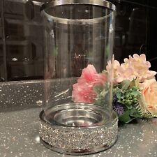 Crushed Diamante Hurricane Jewel Diamante Glass Wedding Table Candle Holder