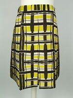 Jigsaw Yellow Silk Checked Pleated Smart Work Party Aline Skirt Size 10