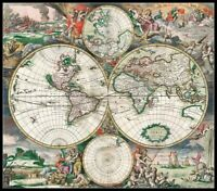 Antique World Map 2 - DIY Chart Counted Cross Stitch Patterns Needlework 14 ct
