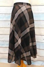 Seda Catherina Hepfer wool blend full check skirt UK 14 W34 L 32