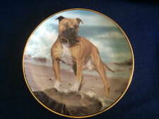 "Danbury Mint The Staffordshire Bull Terrier ""On The Beach"" plate"