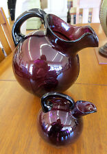 Vintage Cambridge Amethyst Purple Glass Ball Jug Ice Lip Pitcher & Mini Pair