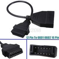 12 Pin To OBD1 OBD2 16 Pin Auto Diagnostic Adapter Cable Black Connector 40cm