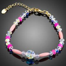 18K Gold GP Made With Swarovski Crystal Elements Rainbow Bead Bangle Bracelet
