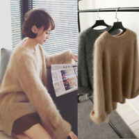 Womens cashmere mink fur Pullover Sweater Oversize Loose Tops Coat Jacket Casual