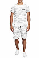 Herren Sportanzug Camouflage Weiß T-Shirt Shorts Zweiteiler Sport set John Kayna