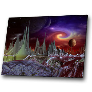 Fantasy Sci-fi Space Planet Solar  Landscape Canvas Wall Art Large Picture Print