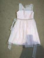 Rare Editions Pearl-Trim Lace Dress Size 8 Gently Used