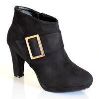 Stivali donna neri tronchetti pelle stivaletti tacco alto fibbia oro bottes  700 95b31a67beb
