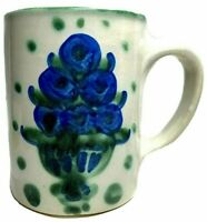 M A Hadley Art Pottery Coffee Chocolate Mug Blueberry Bouquet 10 oz Vintage