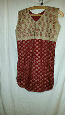 LOVELY VINTAGE RETRO ? ASIAN WEDDING ? DRESS/TOP SLEEVELESS BURGANDY 38 CHEST