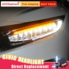 2Pcs For Honda Civic Headlights assembly ALL LED Projector LED DRL 16-19