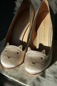 Charlotte Olympia Kitty 110 Women's Heels Ivory / Gold US Size 10 Pre-Owned