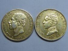 SPAIN 1882 + 1905 2 PESETAS ALFONSO XII - XIII PLATA SOBREDORADAS ORIGINALES (3)