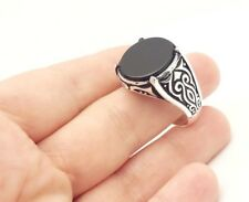 925 STERLING SILVER HANDMADE ROUND BLACK ONYX MEN'S TURKISH OTTOMAN RING SIZE 12
