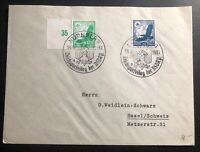 1937 Nuremberg Germany First Day Cover To Basel Switzerland Political Rally