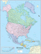 "Cool Owl Maps North America Continent Wall Map Poster - Paper 30""x40"" 2017"