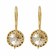 SWAROVSKI CRYSTAL Earrings Dangle WEDDING 14K Yellow Gold Filled Bridal Jewelry