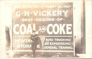 RPPC Man Standing w/ G.H. Vickery Coal & Coke Billboard Australia? early 1900s