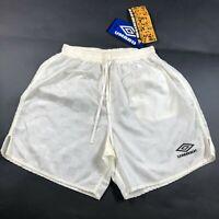 NWT Vintage 90s Umbro Nylon Checkered S Soccer Shorts White Yellow Made in USA