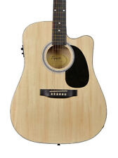 Fender SA-105CE Dreadnought Cutaway Electro Acoustic Guitar, Natural (NEW)