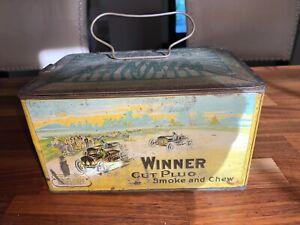 WINNER CUT PLUG Smoke & Chew TOBACCO TIN Tin J. Wright Co Lunch box