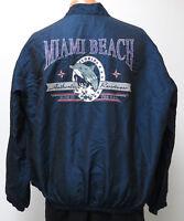 vtg MIAMI BEACH SURF STYLE Iridescent NAVY Jacket OSFA 90s blue crazy Dolphin