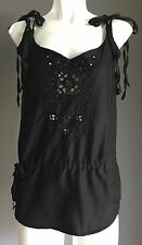 NWOT Black ROXY Shoulder Tie and Drawstring Waist Sleeveless Top Size 10