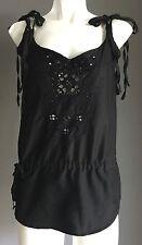 NWOT Black ROXY Shoulder Tie and Drawstring Waist Sleeveless Top Size 10