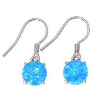 Blue White Fire Opal 925 Sterling Silver Women Jewelry Dangle Earrings SE006-07
