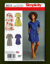 Petite Shirt Dress Sewing Pattern~Length Variations (Size 16-24) Simplicity 8014