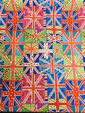 10 Metres Royal Blue Union Jack Flags 100% Cotton Fabric Material