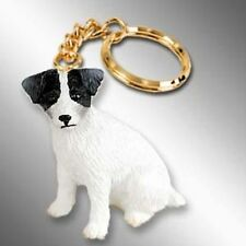 JACK RUSSELL Rough Black White Dog Tiny One Resin Keychain Key Chain Ring