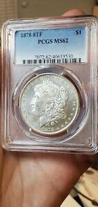 1878 8TF $1 Morgan Silver Dollar PCGS MS62 Stunning Coin (Slab569)