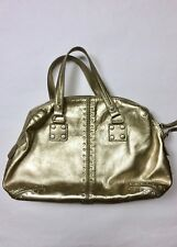 MICHAEL Michael Kors Gold Studded Two Strap Pebble Leather Purse Hand Bag Astor