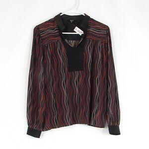 Black orange uneven striped 100% silk RAOUL leather trim blouse 4