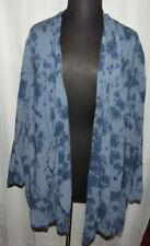 Catherines blue tie dye long sleeve open cardigan, side pockets, Plus size 4X