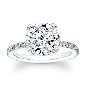 2.30 Carat Round Brilliant Cut Diamond 950 Platinum Engagement Ring Size L M N P