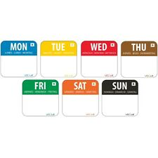"""Colour Coded 1"""" Day of the Week Label kit Food Preparation Labeling Stickers"""
