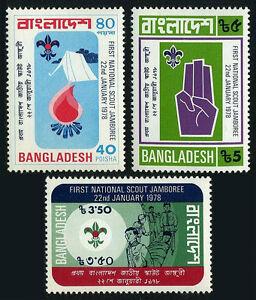 Bangladesh 136-138, MNH National Garçon Scout Jamboree. Camp, Tente, 1978