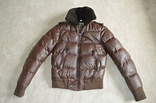 BURBERRY Prorsum in Pelle Marrone Zip Bomber Giacca Cappotto Uomo ITA 48 SMALL S UK 38