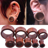 Organic Wood Hollow Double Flared Ear Plugs Tunnels Expander Stretcher Gauges