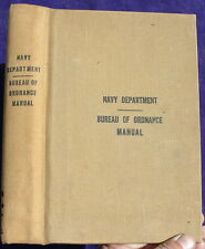 Vintage WW2 1943 Navy Department Bureau of Ordnance Manual, Scarce!