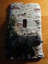 BLACK BEAR BIRCH SINGLE TOGGLE LIGHT SWITCH WALL PLATE COVER Cabin Lodge Decor