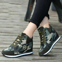 Womens Wedge Camouflage Lace-Up Sneakers High Top High Heel Ankle Boots Shoes