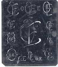 Große Monogramm Schablone OE   Jugendstil  Weißblech 15,5 x 18 cm Weissstickerei